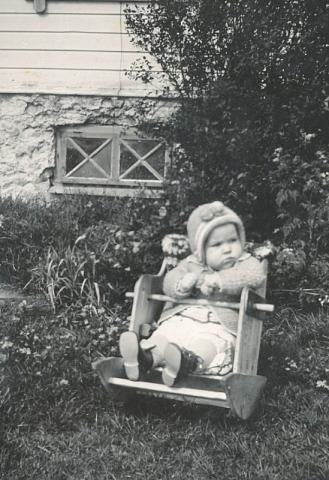 En ung Rolf Pettersson Frigges, född 1937. Rolf föddes på Frigges 339 och drev gården mellan 1964 och 1990. Numera bor han tillsammans med sin hustru Margareta på Frigges 344.