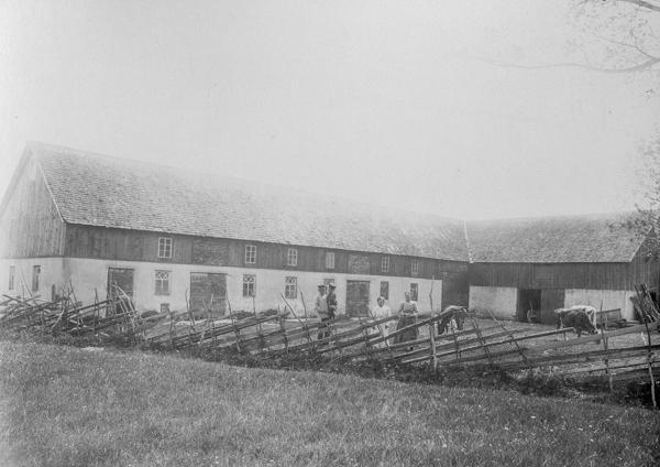 Ladugården vid Öndarve 880: från vänster Petter Olsson, född 1873, med sonen Evert, född 1914 och gift till Gangvide 513; dottern Märta, född 1903 och gift till Maldes 328; samt Petters hustru Selma, född Pettersson vid Frigges 342 år 1877.
