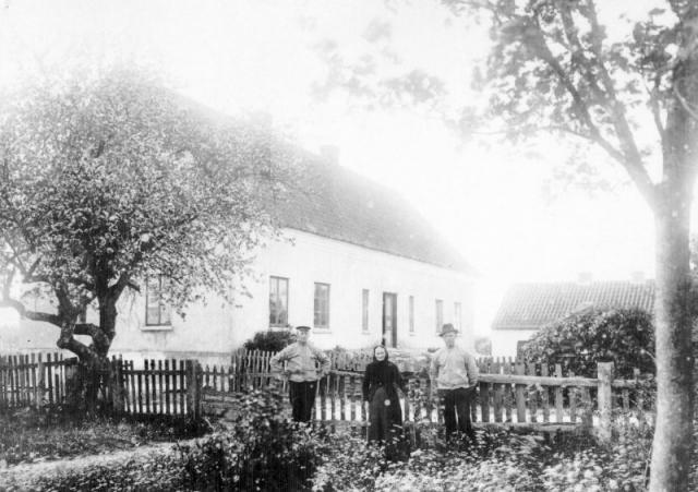 Hallbjärs 613, från vänster Anton Larsson, född 1881 och död 1948, Catarina -mor Kajsen- Larsson, född Tomasdotter i Rone, Johan -JV- Larsson, född 1896.