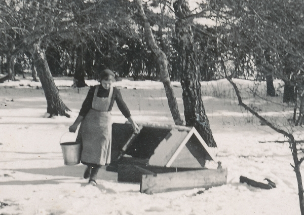 Vinter vid Frigges 339: Sigrid Pettersson, född Jakobsson år 1916, hämtar vatten i brunnen.