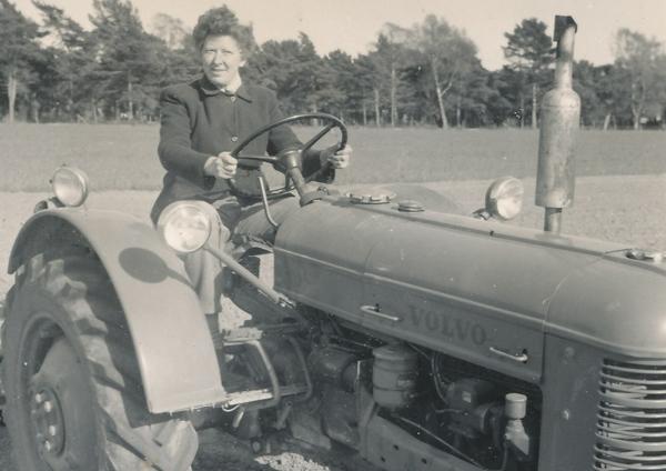 Annie Pettersson Bomunds i Hammaren 514, dotter till Agnes Pettersson, född 1905, kör traktor.