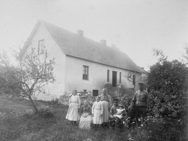 Matisse 247 fotot taget 1918. Husbonden Oskar Nilsson (1878), sonen Hugo Nilsson (1911), som på 1940-talet efterträdde sin far på gården. Oskars far som också hette Oskar Nilsson (1844), född vid Hallbjärs 619, i hans knä Erik (1916), Hugos mor Hilda Nilsson (1885), född Jakobsdotter vid Frigges 344 och som väntar Emma Maria, som föddes 1918 och blev gift i Burs, därefter Anna Nilsson (1907), gift Alkvist vid Folke 849 och mor till Sigvard Ahlkvist, Annas farmor Lena Nilsson (1851), född Häglund vid Hallbjänne 684, och slutligen Astrid Nilsson (1905), gift till Mickelgårds 395 och mor till Britta Thomsson.