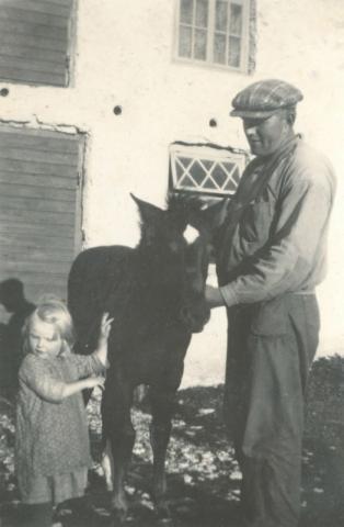 Olof Hallkvist Liffor 265, född 1906 på Pavals 308; med dottern Amalia, född 1930, och fölunge
